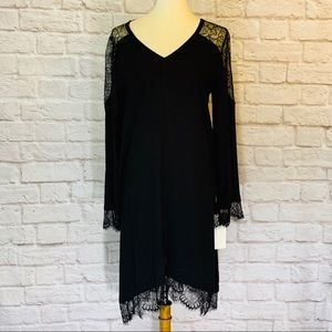 Hale Bob Black crêpe dress, lace, size M